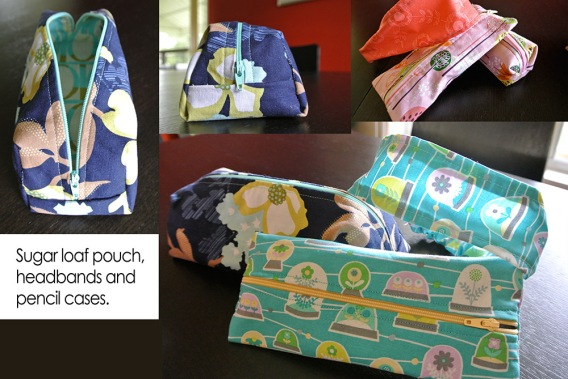 Sugar loaf pouch, headbands and pencil cases